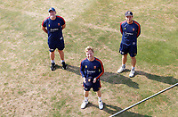 Adam Wheater of Essex (front) holds his new county cap, received from captain Tom Westley (right) and head coach Anthony McGrath (left) prior to  Essex CCC vs Surrey CCC, Bob Willis Trophy Cricket at The Cloudfm County Ground on 9th August 2020