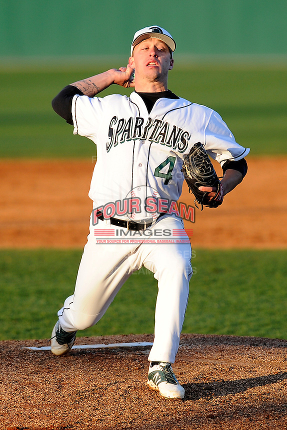 Pitcher Richie Lacell (4) of the University of South Carolina Upstate Spartans delivers in a game against the UNC Asheville Bulldogs on Tuesday, March, 25, 2014, at Cleveland S. Harley Park in Spartanburg, South Carolina. (Tom Priddy/Four Seam Images)
