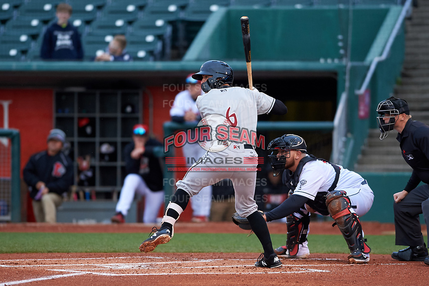 Wisconsin Timber Rattlers first baseman Connor McVey (6) during a Midwest League game against the Lansing Lugnuts at Cooley Law School Stadium on May 1, 2019 in Lansing, Michigan. Wisconsin defeated Lansing 2-1 in the second game of a doubleheader. (Zachary Lucy/Four Seam Images)