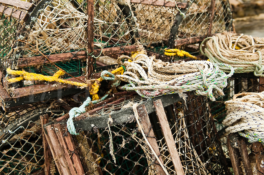 Lobster traps and ropes on a dock, Chatham, Cape Cod, MA, Massachusettes
