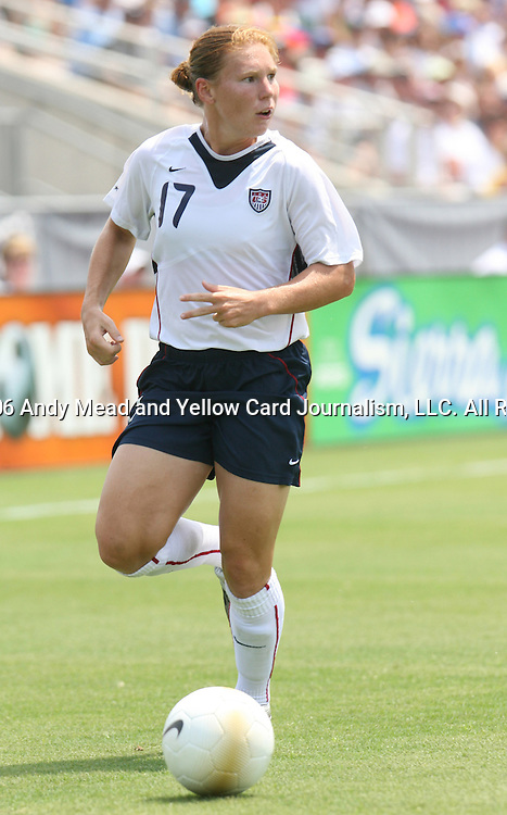 30 July 2006: Lori Chalupny (USA). The United States Women's National Team defeated Canada 2-0 at SAS Stadium in Cary, North Carolina in an international friendly soccer match.