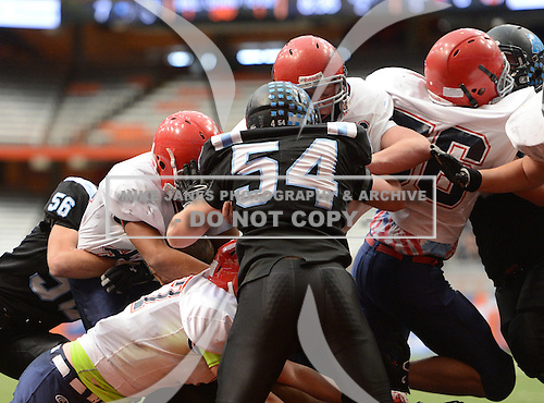 NYSPHSAA Class C Championship game between the Chenango Forks Blue Devils and Rye Neck Panthers at the Carrier Dome on December 1, 2013 in Syracuse, New York.  Chenango Forks defeated Rye Neck 28-27.  (Copyright Mike Janes Photography)