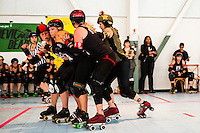 The Oakland Outlaws defeated the San Francisco ShEvil Dead 206-200 during the last doubleheader of the 2013 Bay Area Derby Girls regular season on July 13 at the Craneway Pavilion. The two teams will skate against each other for the 2013 B.A.D. Championship on August 17.
