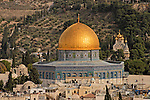 Jerusalem, Israel, The Dome of the Rock rises above the Old City, the Mount of Olives is in the background<br />