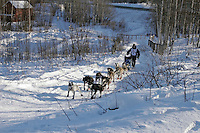 Saturday, February 24th, Knik, Alaska.  Jr. Iditarod musher Wade Marrs on the trail shortly after leaving the Knik start