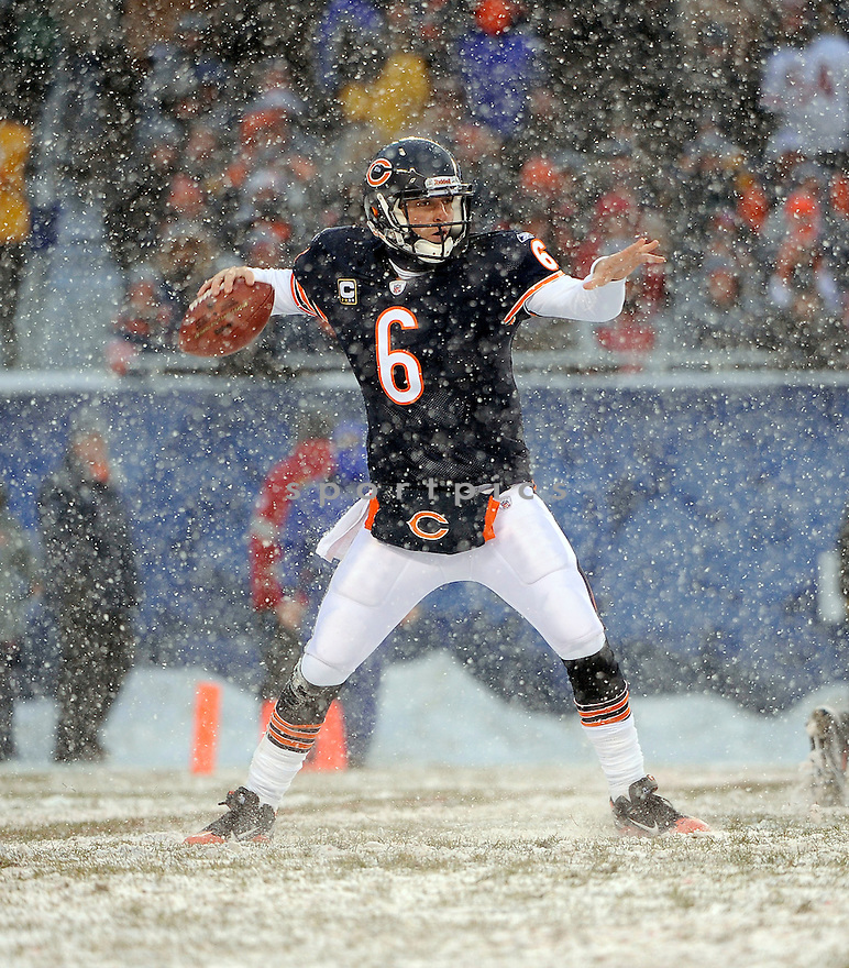 JAY CUTLER, of the Chicago Bears in action durIng the Bears game against the New England Patriots at Soldier Field in Chicago, IL on December 12, 2010...Patriots beat the Bears 36-7