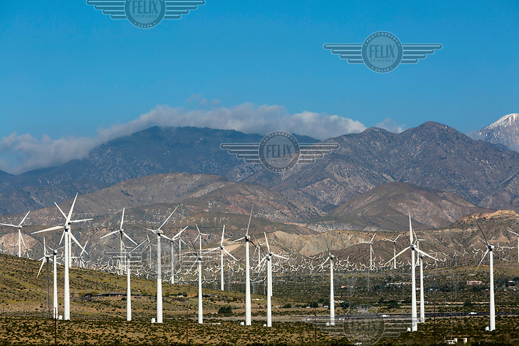 The San Gorgonio Pass Wind Farm, which has 3,218 wind turbines and produces 615 MW of electricity, was built in the early 1980s and is one of the largest wind farms of its type in the United States.