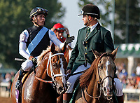 """October 07, 2018 : #10 Current and jockey Jose Ortiz await the photo finish results after winning the 28th running of The Dixiana Bourbon (Grade 3) $250,000 """"Win and You're In Breeders' Cup Juvenile Turf Division"""" for trainer Todd Pletcher and owner Eclipse Thoroughbred and Robert LaPenta at Keeneland Race Course on October 07, 2018 in Lexington, KY.  Candice Chavez/ESW/CSM"""