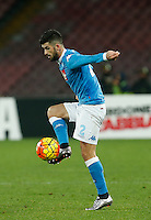 Napoli's Elseid Hysaj  controls the ball during the Quartef-final of Tim Cup soccer match,between SSC Napoli and vFC Inter    at  the San  Paolo   stadium in Naples  Italy , January 20, 2016