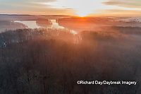 63895-16820 Sunrise and fog Stephen A. Forbes State Park-aerial-Marion Co. IL