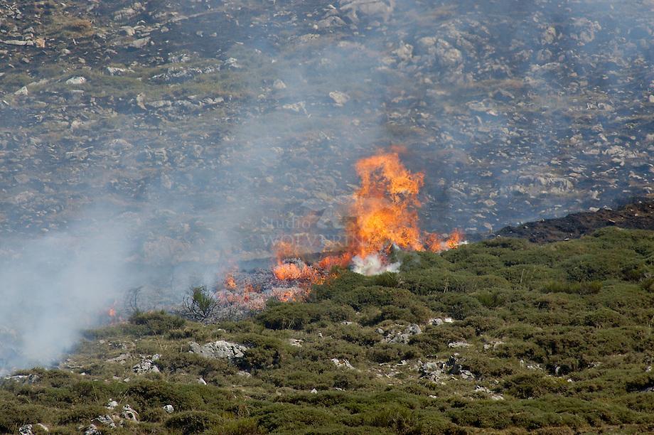 Bosbrand in Cantabrisch gebergte, Spanje