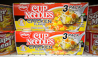 Packages of Nissin brand instant ramen noodles are seen on supermarket shelves in New York on Friday, March 25, 2016. Nissin Foods is competing with McCormick to take over the U.K. food manufacturer Premier Foods.   (© Richard B. Levine)