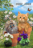 GIORDANO, CUTE ANIMALS, LUSTIGE TIERE, ANIMALITOS DIVERTIDOS, paintings+++++,USGI2928,#ac#, EVERYDAY ,cats