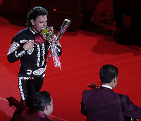 Pedro Fernandez durante su concierto en el palenque de la Feria de Leon , Guanajuato el 18 de enero del 2013..<br /> (*Foto:TiradorTercero/NortePhoto*)