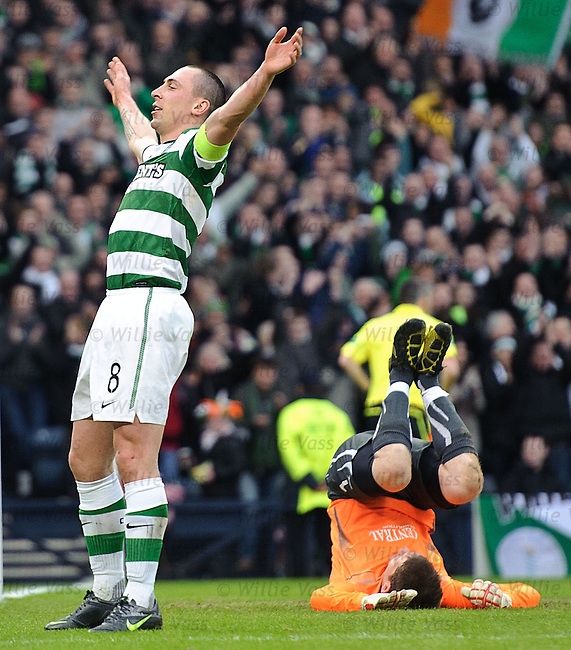 Scott Brown celebrates his penalty goal