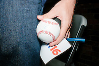 An audience member got a baseball signed by Republican presidential candidate and governor of Wisconsin Scott Walker after he spoke at a meet and greet with veterans at the Derry VFW in Derry, New Hampshire.