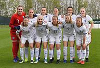 20190406  - Tubize , BELGIUM : team of Finland with Katriina Talaslahti (1)   Joanna Tynnila (3)   Sanni Ojanen (5)   Nana Yang (6)   Jenna Topra (7)   Oona Siren (8)   Toosa Tuominen (9)   Emmi Siren (13)   Aino Vuorinen (14)   Katarina Kosola (16)   Tuuli Enkkila (19) pictured during the soccer match between the women under 19 teams of Belgium and Finland , on the second matchday in group 2 of the UEFA Women Under19 Elite rounds in Tubize , Belgium. Saturday 6 th April 2019 . PHOTO DIRK VUYLSTEKE / Sportpix.be