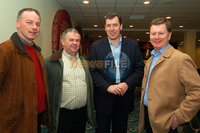 Paul Clarke and patrick McDonnell from Walshestown with Packie Bonner and Declan McCann from Drogheda Concentrates at the launch of the DDSL academy in the Boyne Valley Hotel Sponsored by Drogheda Concentrates (Coca Cola)..Photo Fran Caffrey Newsfile.ie..This Picture has been sent to you by Newsfile Ltd..The Studio,.Millmount Abbey,.Drogheda,.Co. Meath,.Ireland..Tel: +353(0)41-9871240.Fax: +353(0)41-9871260.ISDN: +353(0)41-9871010.www.newsfile.ie..general email: pictures@newsfile.ie