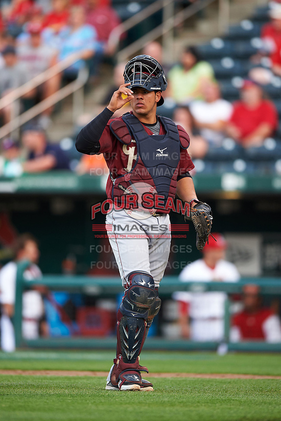 Frisco RoughRiders catcher Jorge Alfaro (8) during a game against the Springfield Cardinals on June 3, 2015 at Hammons Field in Springfield, Missouri.  Springfield defeated Frisco 7-2.  (Mike Janes/Four Seam Images)