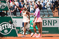June 1, 2015: Serena Williams of United States of America celebrates winning a 4th round match against Sloane Stephens of United States of America on day nine of the 2015 French Open tennis tournament at Roland Garros in Paris, France. Williams won 16 75 63. Sydney Low/AsteriskImages