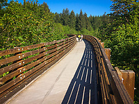 Bicycle riders on the Buxton Trestle on the Banks Vernonia Trail, in Oregon