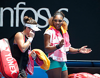 15th January 2019, Melbourne Park, Melbourne, Australia; Australian Open Tennis, day 2; Serena Williams of USA and Tatjana Maria of Germany