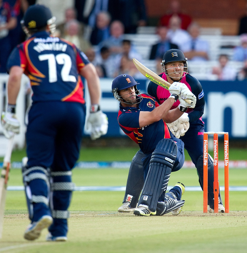 Essex Eagles' Mark Pettini hits out in the t20 game against Middlesex Panthers<br /> <br />  (Photo by Ashley Western/CameraSport) <br /> County Cricket - Friends Life t20 2013 - Middlesex v Essex - Thursday 04th July 2013 - Lord's, London <br /> <br />  &copy; CameraSport - 43 Linden Ave. Countesthorpe. Leicester. England. LE8 5PG - Tel: +44 (0) 116 277 4147 - admin@camerasport.com - www.camerasport.com