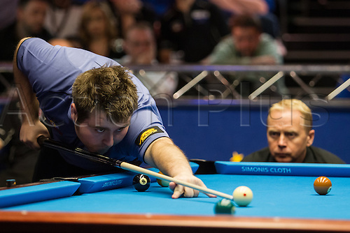 13.12.2012 London, England. World Champion and Europe player Nick Van Den Berg in action during the Mosconi Cup International Pool Championships  between Team Europe and Team America from York Hall.
