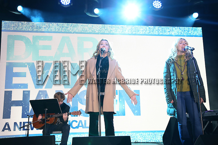 Jennifer Laura Thompson and Rachel Bay Jones from the new Broadway Musical 'Dear Evan Hansen' perform during the 2016 Bloomingdale's Holiday Concert at Beacon Court on November 21, 2016 in New York City.