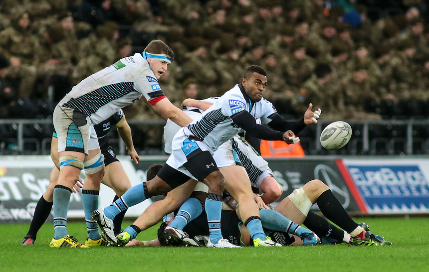 Glasgow Warriors'  replacement scrum half Ratu Tagive passes from the base of a ruck.<br /> <br /> Photographer /Dan MintoCameraSport<br /> <br /> Guinness PRO12 Round 16  - Ospreys v Glasgow Warriors - Sunday 26th February 2017 - Liberty Stadium - Swansea<br /> <br /> World Copyright &copy; 2017 CameraSport. All rights reserved. 43 Linden Ave. Countesthorpe. Leicester. England. LE8 5PG - Tel: +44 (0) 116 277 4147 - admin@camerasport.com - www.camerasport.com