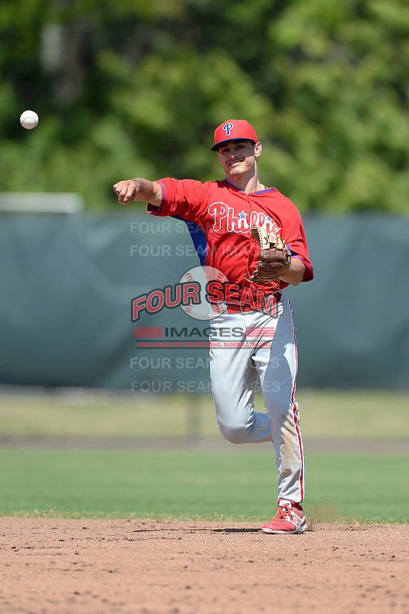Philadelphia Phillies infielder KC Serna (13) during a minor league spring training game against the Pittsburgh Pirates on March 18, 2014 at the Carpenter Complex in Clearwater, Florida.  (Mike Janes/Four Seam Images)