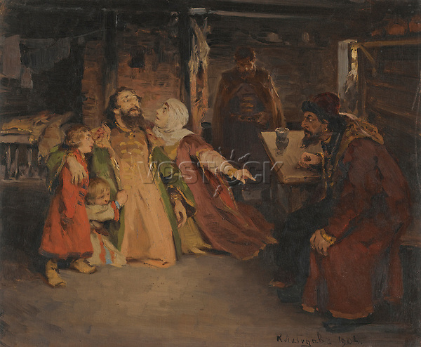 Ivan the Terrible by Lebedev, Klavdi Vasilyevich (1852-1916) / Private Collection / 1904 / Russia / Oil on canvas / History / 32x38,5 / History painting