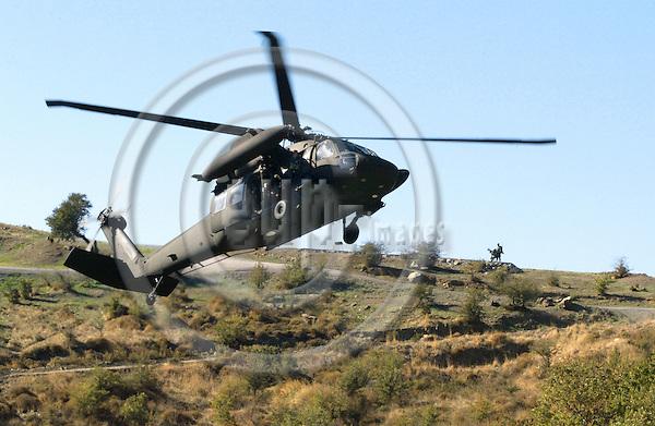 DOGANBEY - TURKEY -20 NOVEMBER 2002 -- The NATO Response Force (NRF) Exercise and Demonstration.-- Turkish QRF helicopter. -- PHOTO: JUHA ROININEN / EUP-IMAGES