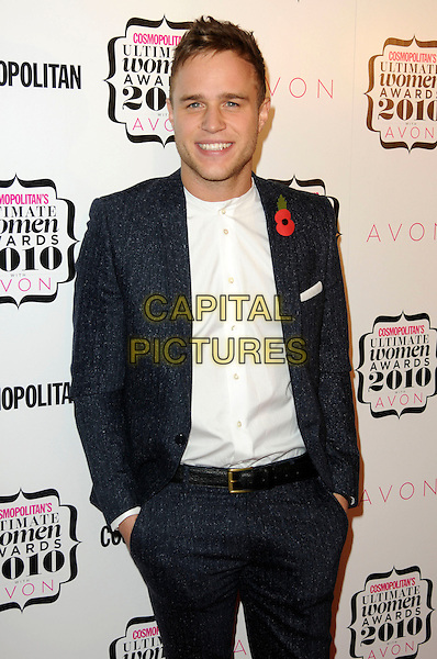 OLLY MURS.Cosmopolitan Ultimate Women Of The Year Awards, Banqueting House, Whitehall Place, London, England..November 2nd, 2010.half length black suit white shirt grey gray hands in pockets poppy.CAP/CAS.©Bob Cass/Capital Pictures.