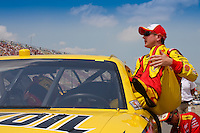 19 June, 2011: Kurt Busch climbs from his car after winning the pole in the 43rd Annual Heluva Good! Sour Cream Dips 400 at Michigan International Speedway in Brooklyn, Michigan. (Photo by Jeff Speer :: SpeerPhoto.com)