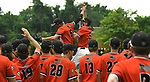 Edwardsville players celebrate their win over Belleville West including Hayden Moore (6) and Blake Burris (5) who leap and high five each other. Edwardsville defeated Belleville West in a semifinal  of the Class 4A Bloomington boys baseball sectional which was played in O'Fallon, IL on Wednesday May 29, 2019.<br />