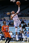 17 November 2015: North Carolina's Stephanie Watts (5) and Florida A&M's London Holland (22). The University of North Carolina Tar Heels hosted the Florida A&M University Rattlers at Carmichael Arena in Chapel Hill, North Carolina in a 2015-16 NCAA Division I Women's Basketball game. UNC won the game 94-58.