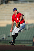 Kannapolis Intimidators relief pitcher Mick VanVossen (39) in action against the Delmarva Shorebirds at Kannapolis Intimidators Stadium on July 2, 2017 in Kannapolis, North Carolina.  The Shorebirds defeated the Intimidators 5-4.  (Brian Westerholt/Four Seam Images)