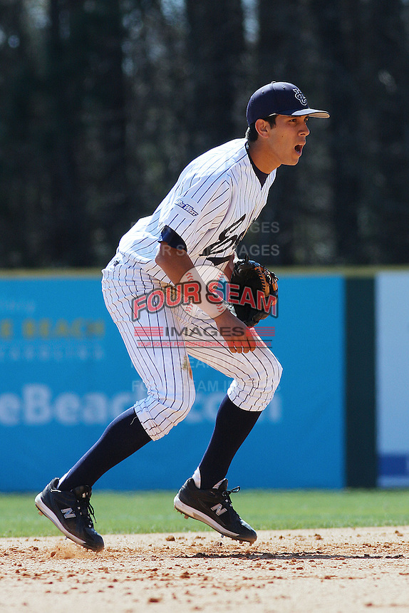 Tommy Reyes of the University of California at Irvine playing shortstop during a game against James Madison University at the Baseball at the Beach Tournament held at BB&T Coastal Field in Myrtle Beach, SC on February 28, 2010.