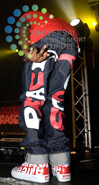 Dizzee Rascal plays his own brand of Hip-Hop at the Glasgow O2 Academy on 5th October 2009..Picture: Peter Kaminski/Universal News and Sport (Scotland