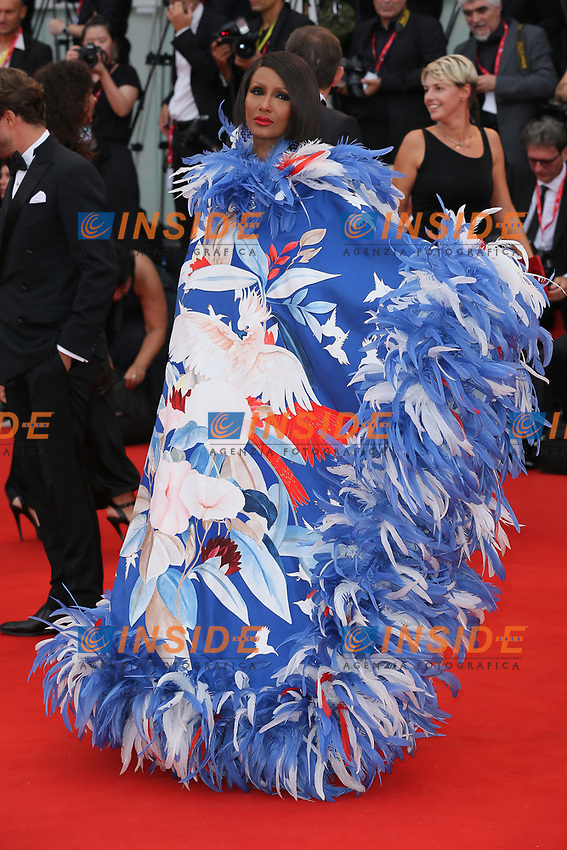 "VENICE, ITALY - AUGUST 28: Iman walks the red carpet ahead of the Opening Ceremony and the ""La Verite"" (The Truth) screening during the 76th Venice Film Festival at Sala Grande on August 28, 2019 in Venice, Italy., 2019 in Venice, Italy. (Photo by Marck Cape/Inside Foto)<br /> Venezia 28/08/2019"