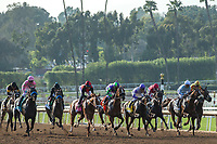 ARCADIA, CA  APRIL 7:  The field at the start of the Santa Anita Oaks (Grade l) on April 7, 2018, at Santa Anita Park in Arcadia, Ca.  (Photo by Casey Phillips/ Eclipse Sportswire/ Getty Images)