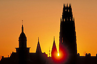Harkness Tower, Yale Univ, New Haven, CT,  sunset