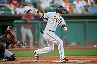 Anthony Bemboom (2) of the Salt Lake Bees at bat against the Sacramento River Cats at Smith's Ballpark on July 18, 2019 in Salt Lake City, Utah. The Bees defeated the River Cats 9-6. (Stephen Smith/Four Seam Images)