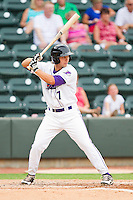 Ross Wilson #7 of the Winston-Salem Dash at bat against the Myrtle Beach Pelicans at BB&T Ballpark on July 5, 2012 in Winston-Salem, North Carolina.  The Dash defeated the Pelicans 12-5.  (Brian Westerholt/Four Seam Images)