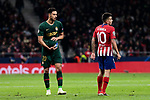 Atletico de Madrid's Angel Martin Correa and AS Monaco's Nacer Chadli during UEFA Champions League match between Atletico de Madrid and AS Monaco at Wanda Metropolitano Stadium in Madrid, Spain. November 28, 2018. (ALTERPHOTOS/A. Perez Meca)