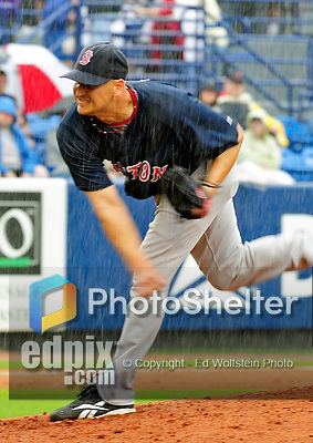 11 March 2010: Boston Red Sox pitcher Joe Nelson on the mound during a rainy Spring Training game against the New York Mets at Tradition Field in Port St. Lucie, Florida. The Red Sox defeated the Mets 8-2 in Grapefruit League action. Mandatory Credit: Ed Wolfstein Photo