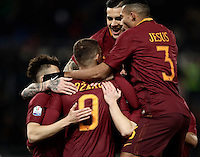 Calcio, ottavi di finale di Tim Cup: Roma vs Sampdoria. Roma, stadio Olimpico, 19 gennaio 2017.<br /> Roma&rsquo;s Edin Dzeko, center, celebrates with teammates after scoring during the Italian Cup round of 16 football match between Roma and Sampdoria at Rome's Olympic stadium, 19 January 2017.<br /> UPDATE IMAGES PRESS/Isabella Bonotto
