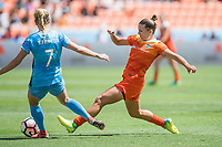 Houston, TX - Saturday May 13, Houston Dash midfielder Amber Brooks (12), Sky Blue FC midfielder Nikki Stanton (7) during a regular season National Women's Soccer League (NWSL) match between the Houston Dash and Sky Blue FC at BBVA Compass Stadium. Sky Blue won the game 3-1.