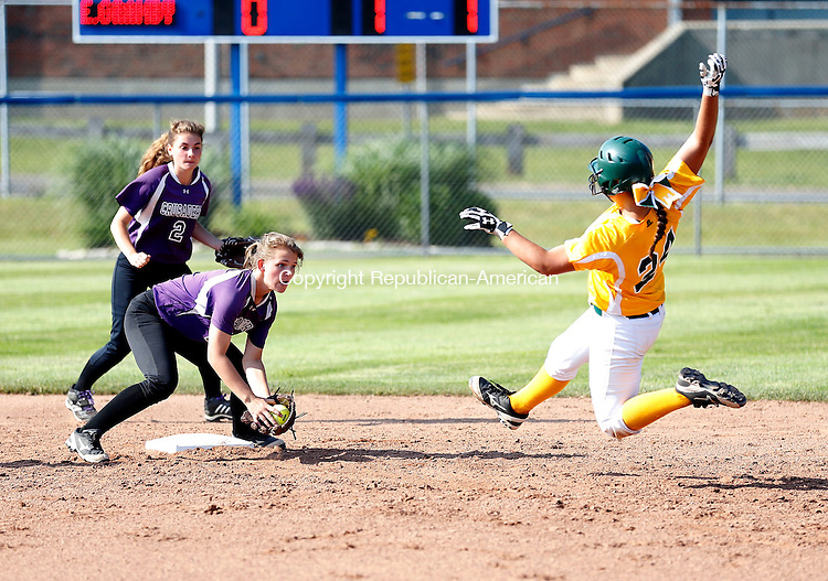 West Haven, CT- 10 June 2015-061015CM02- Holy Cross' Sarah Lawton is tagged out by East Granby's Val Winalski  as she attempts to advance to second following a pass ball at first during their Class S semi-final matchup in West Haven on Wednesday.  Cross won, 2-0 advancing to Class S state finals.    Christopher Massa Republican-American